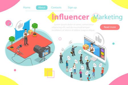 Influencer marketing concepto de vector plano isométrico. Video blogger está representando un nuevo producto para su audiencia y lanza una publicación de video en su página.