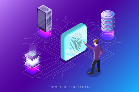 Biometric blockchain flat isometric vector concept. Illustration