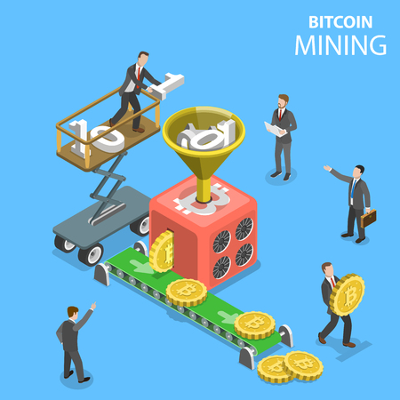 Isometric vector concept of cryptocurrency mining, blockchain, bitcoin farm, creating digital currency. Illustration