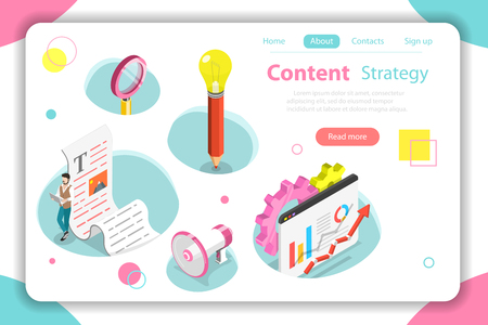 Content strategy flat isometric vector concept. Illustration