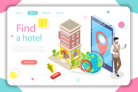 Find a hotel flat isometric vector concept. Illustration
