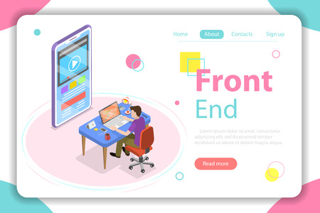 Front end flat isometric vector concept.
