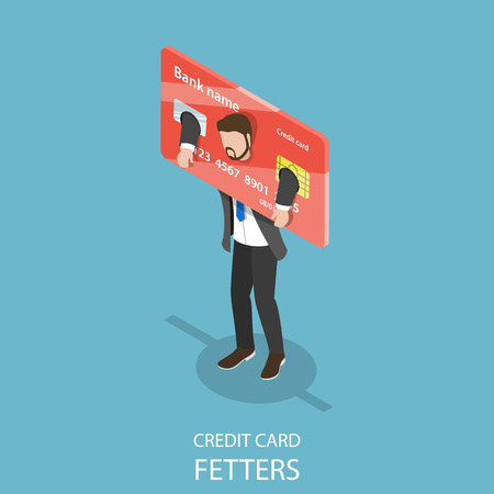 Credit card fetters flat isometric vector concept of