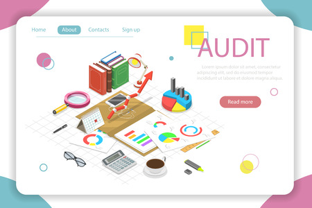 Flat isometric vector concept audit, tax examination, financial report.