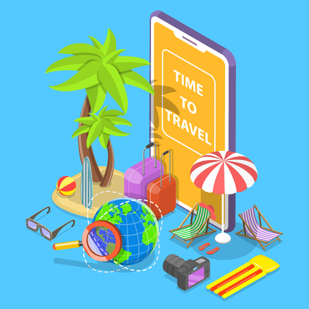 Flat isometric vector concept of online tour searching, summer vacation, hotel and tickets booking. Illustration
