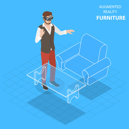 Flat isometric vector concept of augmented reality, virtual furniture.