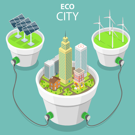 Eco city flat isometric vector concept illustration. Çizim