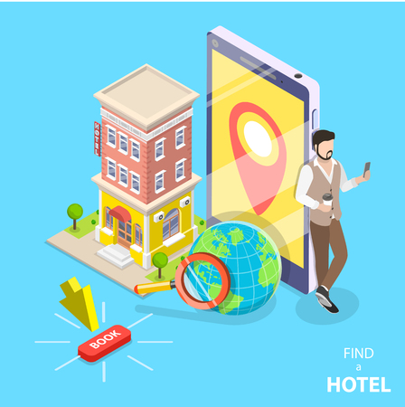 Online hotel search flat isometric vector concept.