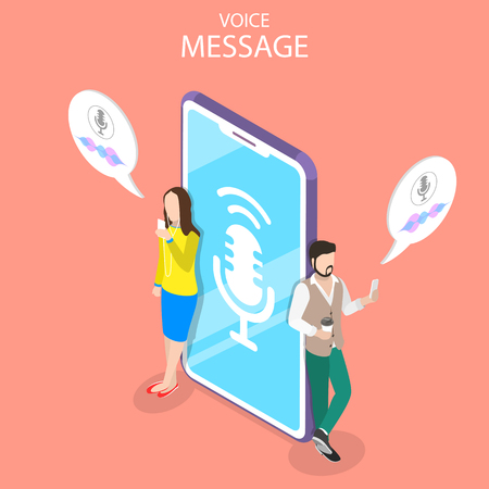 Isometric flat vector concept of voice message, personal assistant, voice recognition, soundwave intelligent technologies. Illustration
