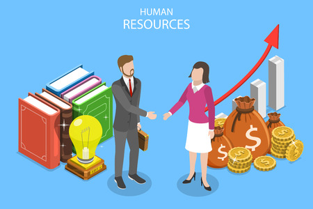 Isometric flat vector concept or human resources, job applicant, HR, position interview, headhunter.