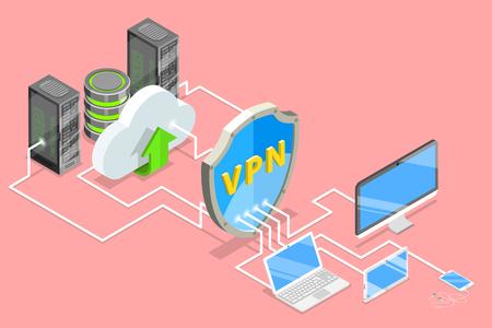 Illustration conceptuelle de vecteur plat isométrique de protection VPN. Vecteurs