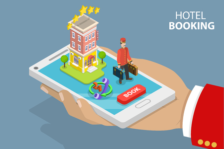 Flat isometric vector concept of hotel search, booking online, apartment reservation.