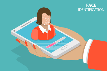 Flat isometric vector concept of biometric idetification, facial recognition system, digital verification. flat, isometric, vector, Illustration