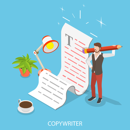 Flat isometric vector concept of creative writing, copywriting, content creating. Illustration