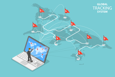 Isometric Flat Vector Concept Of Global Tracking System