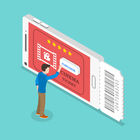 Isometric flat vector concept of mobile cinema tickets app, movie coupon online booking.