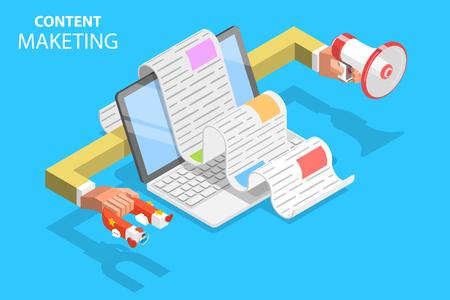 Concept de vecteur plat isométrique de stratégie de contenu, promotion de contenu numérique d'engagement.