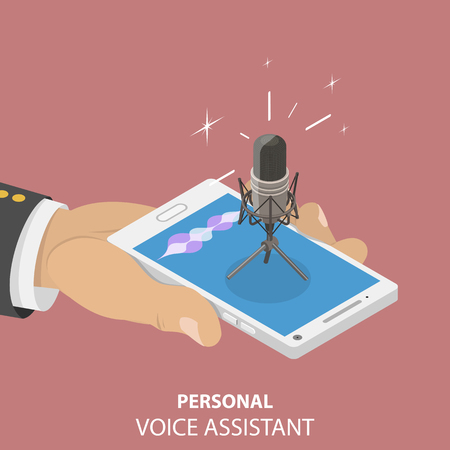 Isometric flat vector concept of personal voice, assistant, voice recognition, soundwave intelligent technologies. Çizim