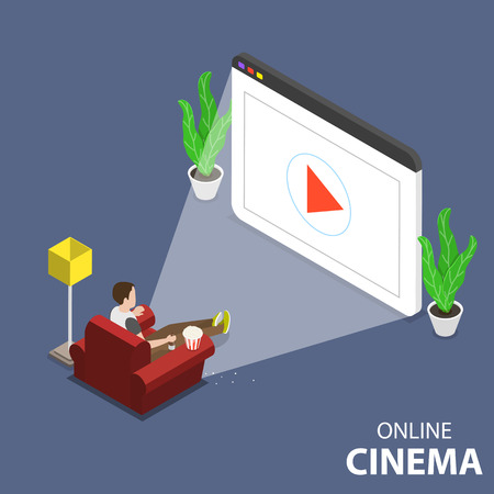 Flat isometric vector concept of online home theatre, mobile movie. Illustration