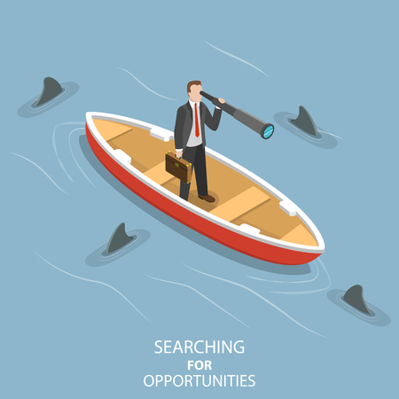 Isometric flat vector concept of searching for opportunities, business vision, finding a path to the goal. Illustration