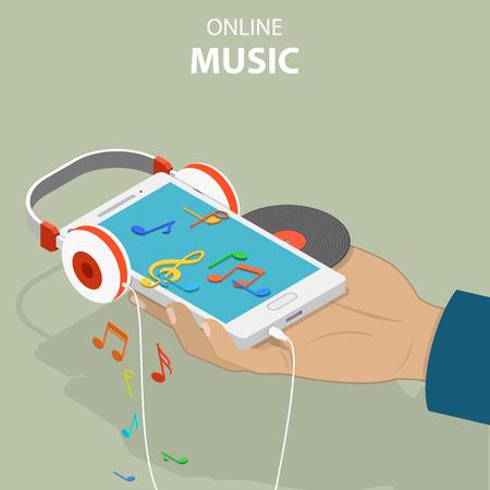 Isometric flat vector concept of mobile music, live player, online radio. Stock Illustratie
