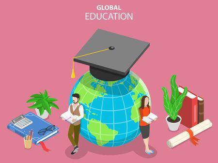 Flat isometric vector concept of global online education, e-learning, webinar, training.