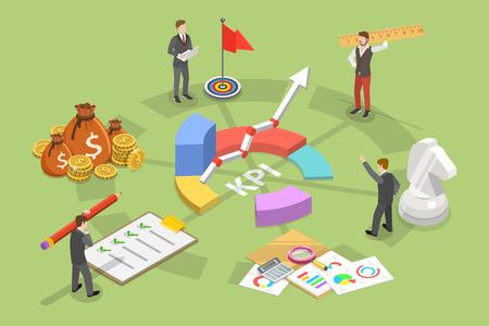 Concepto de vector plano isométrico de indicador de rendimiento clave. Representa los principales puntos de KPI como el siguiente objetivo, medición, optimización, estrategia, rendimiento, evaluación.