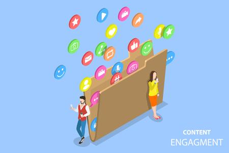 Concetto di vettore piatto isometrico della strategia di coinvolgimento dei clienti, marketing di contenuti coinvolgenti, blog e vlogging, condivisione di social media.
