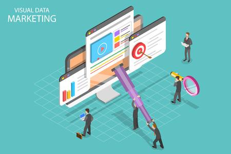 Concepto de vector plano isométrico de marketing de datos visuales, campaña impulsada por datos, análisis de estadísticas. Ilustración de vector
