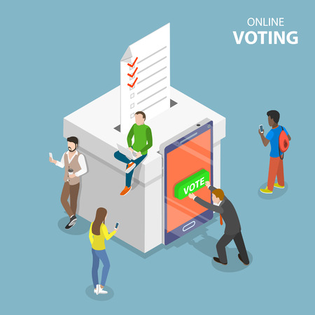 Concepto de vector plano isométrico votando en línea, voto electrónico, sistema de internet electoral.