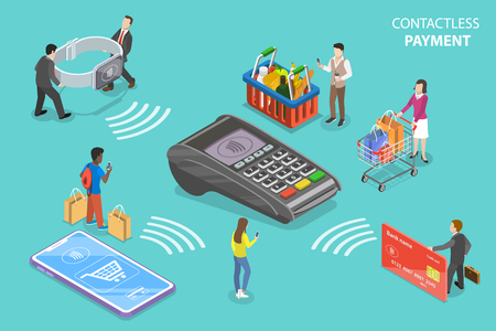 Flat isometric vector concept of contactless, wireless, cashless payment, NFC