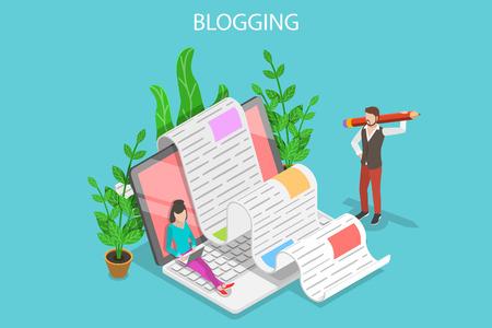 Illustration conceptuelle créative de blogging vecteur plat isométrique.