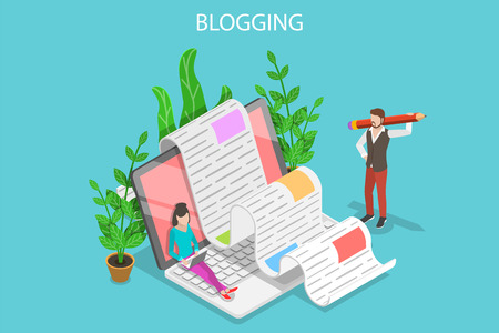 Creative blogging isometric flat vector conceptual illustration. Vectores