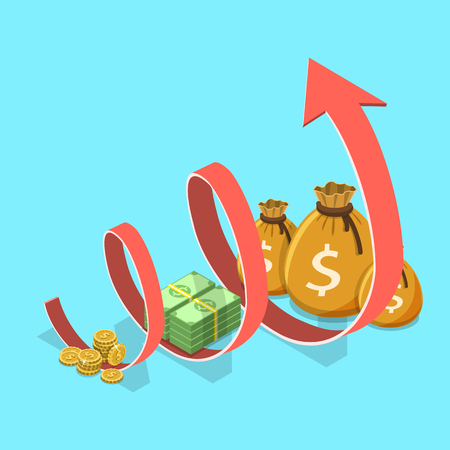 Income growth flat isometric vector concept. Concept of financial growth, business productivity, ROI, financial performance. Иллюстрация