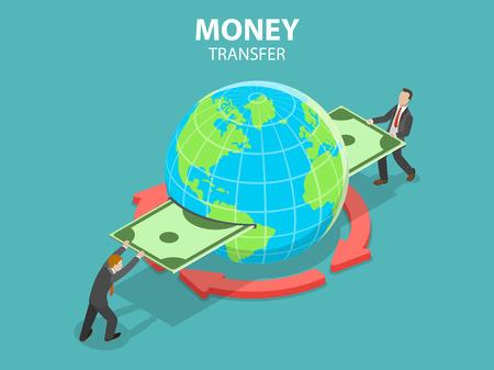 Concetto di vettore piatto isometrico di trasferimento di denaro internazionale, operazioni bancarie online, transazioni finanziarie.