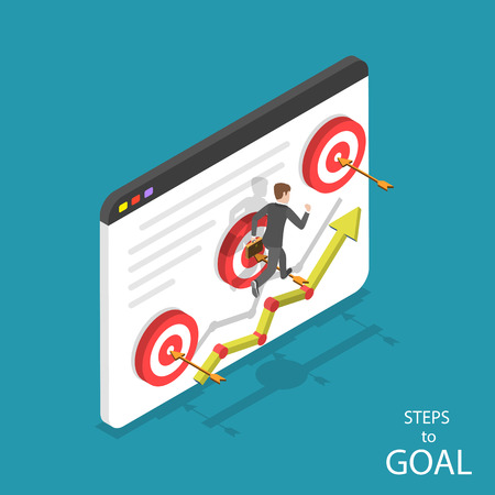 Isometric flat vector concept of steps to goal, business ambitions, motivation, path to success.