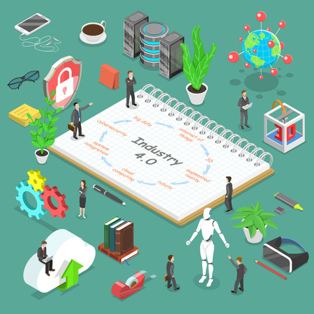 Concepto de vector plano isométrico de la industria 4, revolución industrial inteligente, realidad aumentada, iot, ai, computación en la nube.