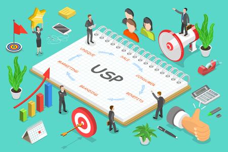 USP - concepto de vector plano isométrico de propuesta de venta única.