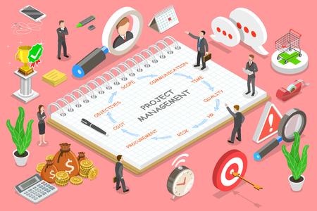 Isometrisches flaches Vektorkonzept des Projektmanagements, des Business-Multitasking, des Erreichens von Projektzielen, des Unternehmensmanagements. Vektorgrafik