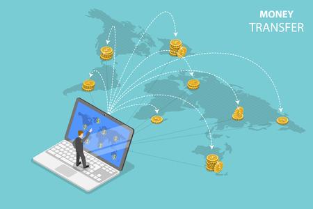 Isometrische platte vector concept van het verzenden van geld over de hele wereld, geldoverdracht, online bankieren, financiële transactie.