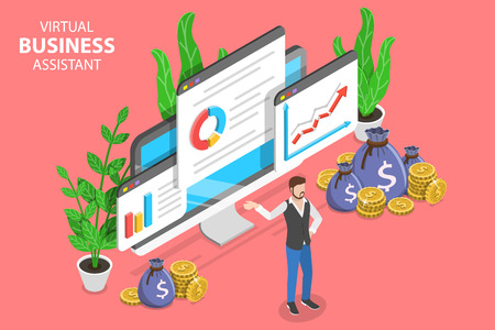Virtual business assistant isometric flat vector concept. Çizim