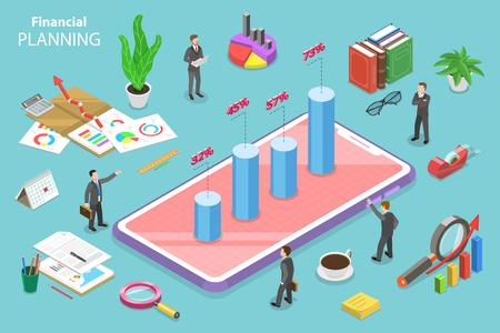 Concepto de vector plano isométrico de planificación financiera, estrategia de desarrollo, presupuesto, previsión empresarial. Ilustración de vector
