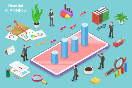 Isometric flat vector concept of financial planning, development strategy, budget, business forecast.