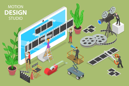 Isometric flat vector concept of motion design studio, video editor app, creating video online. Stock Illustratie
