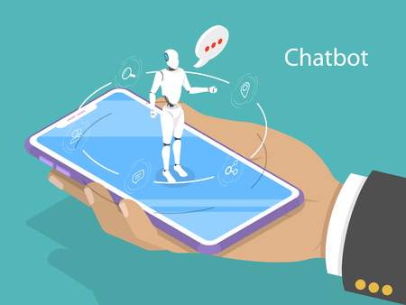 Customer support chatbot flat isometric vector concept.