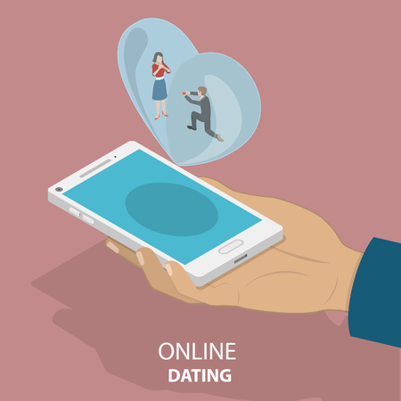 Isometric flat vector concept of online dating app, internet or remote relationship, social network acquaintance.