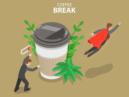 Coffee break flat isometric vector concept.