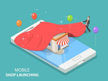 Flat isometric vector concept of mobile store app launch, startup idea, mobile development.