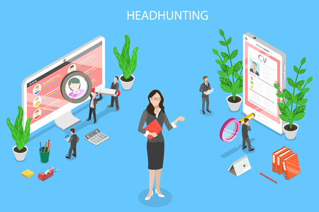 Isometric flat vector concept of headhunting, recruitment, HR manager review, employee search.