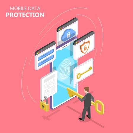 Concept de vecteur plat isométrique de protection des données mobiles, sécurité Internet.